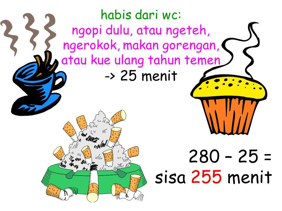habis dari wc: ngopi dulu, atau ngeteh, ngerokok, makan gorengan, atau kue ulang tahun temen -> 25 menit 280 – 25 = sisa 255 menit