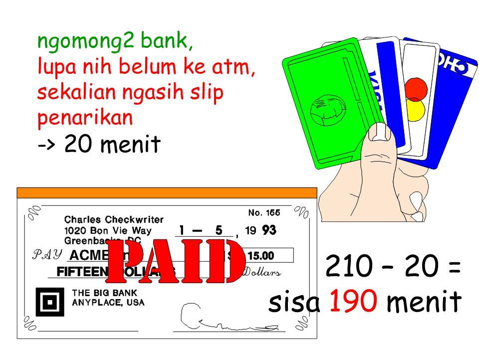 ngomong2 bank, lupa nih belum ke atm, sekalian ngasih slip penarikan -> 20 menit 210 – 20 = sisa 190 menit