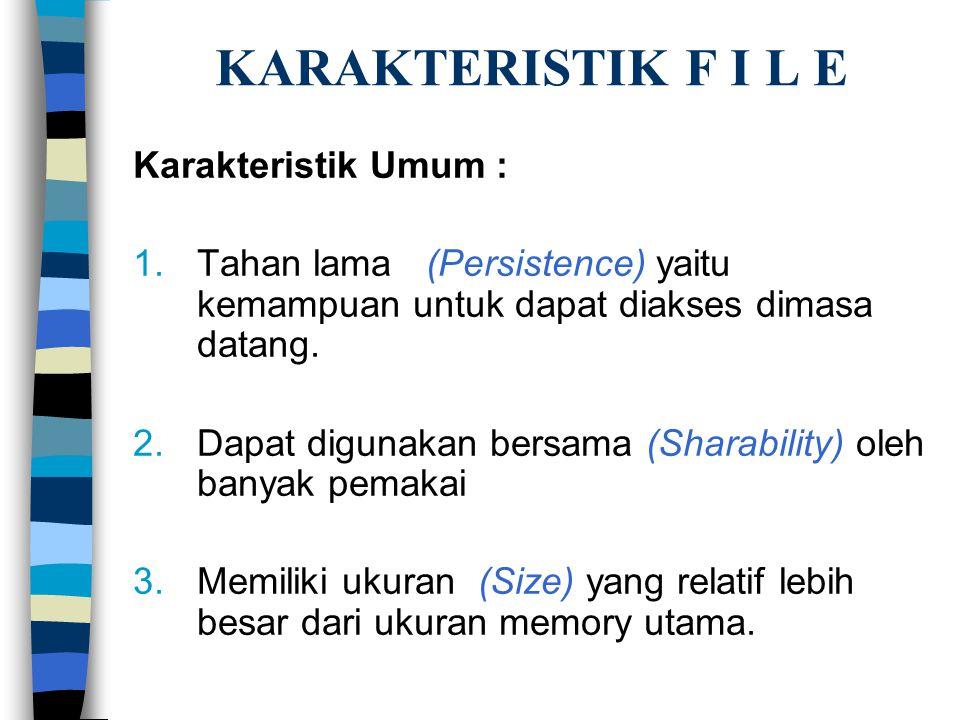 KARAKTERISTIK F I L E Karakteristik Umum : 1.Tahan lama (Persistence) yaitu kemampuan untuk dapat diakses dimasa datang.