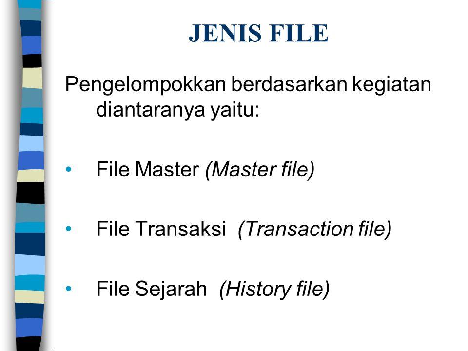 JENIS FILE Pengelompokkan berdasarkan kegiatan diantaranya yaitu: File Master (Master file) File Transaksi (Transaction file) File Sejarah (History file)