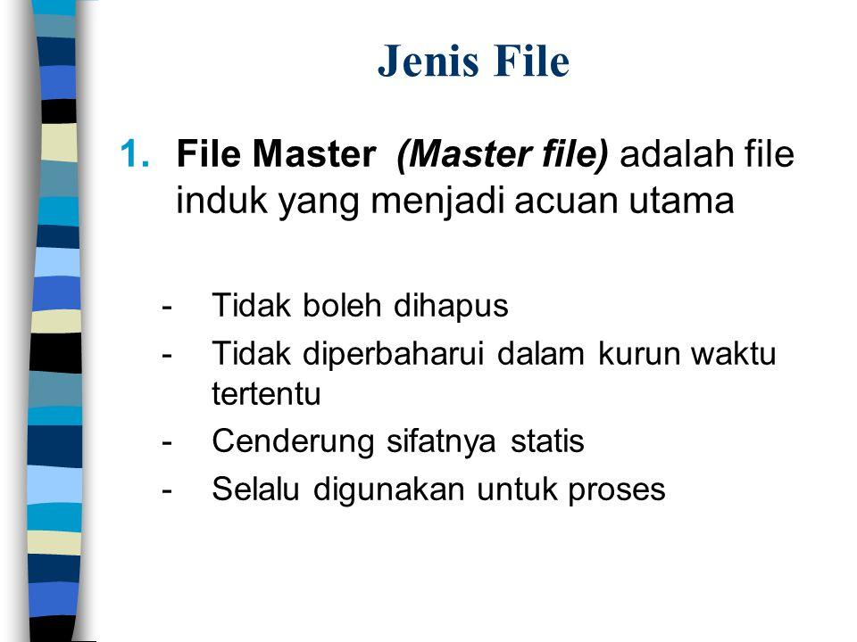 Jenis File 1.File Master (Master file) adalah file induk yang menjadi acuan utama -Tidak boleh dihapus -Tidak diperbaharui dalam kurun waktu tertentu -Cenderung sifatnya statis -Selalu digunakan untuk proses