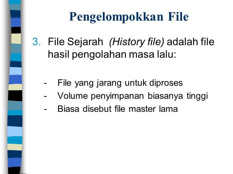 Pengelompokkan File 3.File Sejarah (History file) adalah file hasil pengolahan masa lalu: -File yang jarang untuk diproses -Volume penyimpanan biasanya tinggi -Biasa disebut file master lama