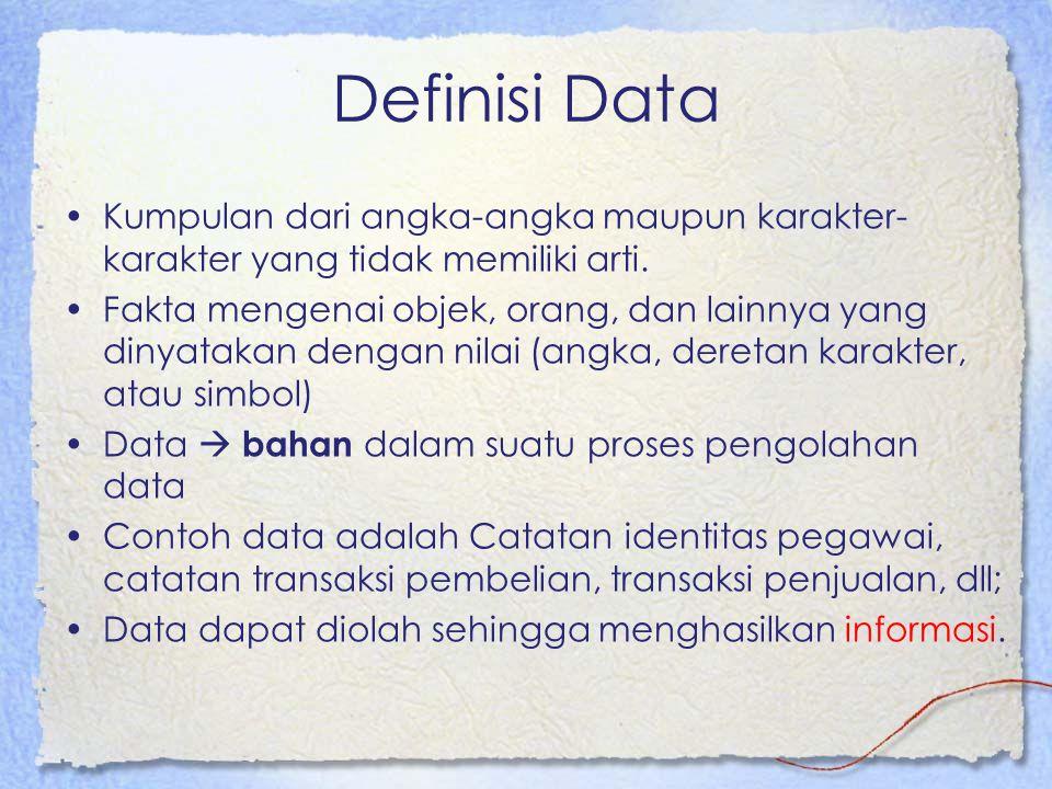 Definisi Data Kumpulan dari angka-angka maupun karakter- karakter yang tidak memiliki arti.