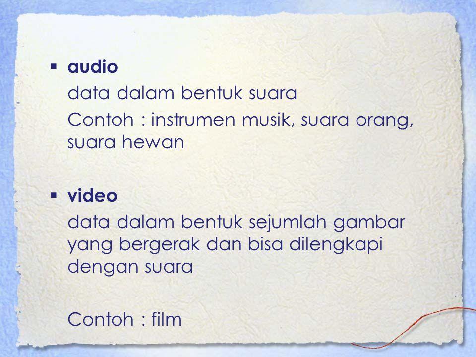  audio data dalam bentuk suara Contoh : instrumen musik, suara orang, suara hewan  video data dalam bentuk sejumlah gambar yang bergerak dan bisa dilengkapi dengan suara Contoh : film