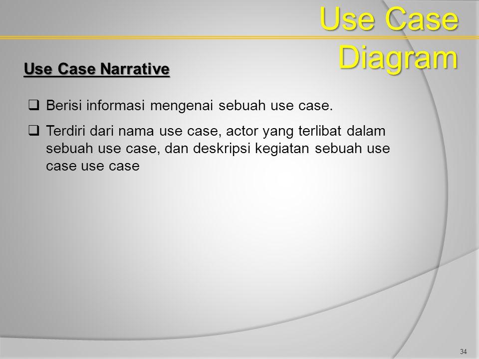Use Case Diagram Use Case Narrative  Berisi informasi mengenai sebuah use case.  Terdiri dari nama use case, actor yang terlibat dalam sebuah use ca