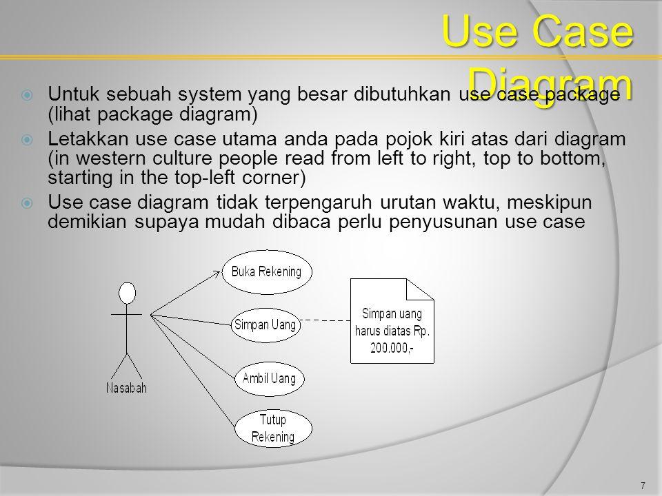 Use Case Diagram  Untuk sebuah system yang besar dibutuhkan use case package (lihat package diagram)  Letakkan use case utama anda pada pojok kiri a