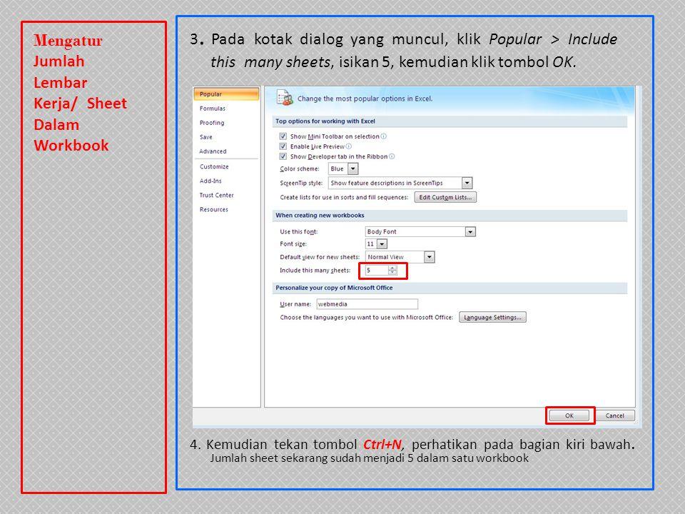 3. Pada kotak dialog yang muncul, klik Popular > Include this many sheets, isikan 5, kemudian klik tombol OK. 4. Kemudian tekan tombol Ctrl+N, perhati