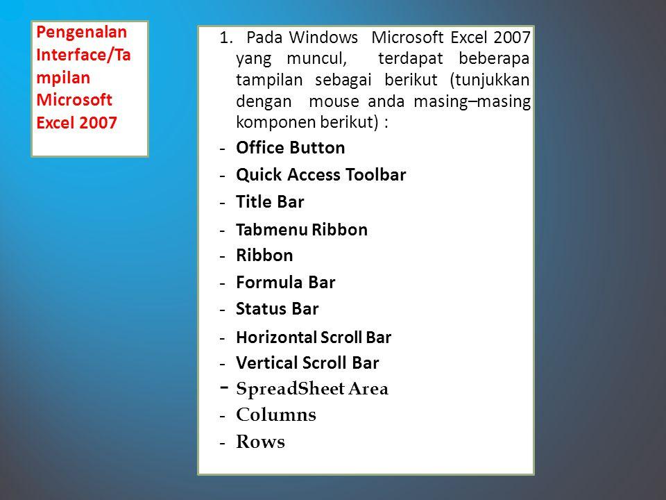 Pengenalan Interface/Ta mpilan Microsoft Excel 2007 1.