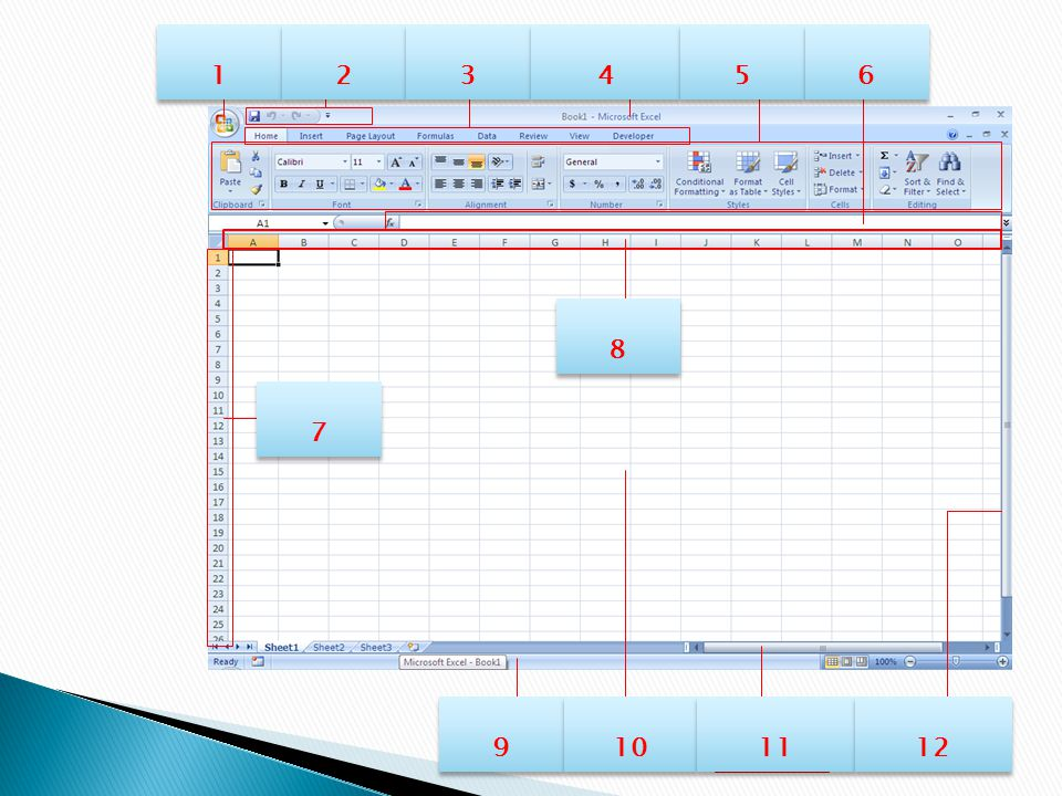 Horizontal Scroll Bar SpreadSheet Area Status Bar Horizontal Scroll Bar OfficeQuick Access TabMenuTabMenu Formula Bar RibbonRibbon Columns Rows TitleTitle 1 1 2 2 3 3 4 4 5 5 6 6 7 7 8 8 9 9 10 11 12