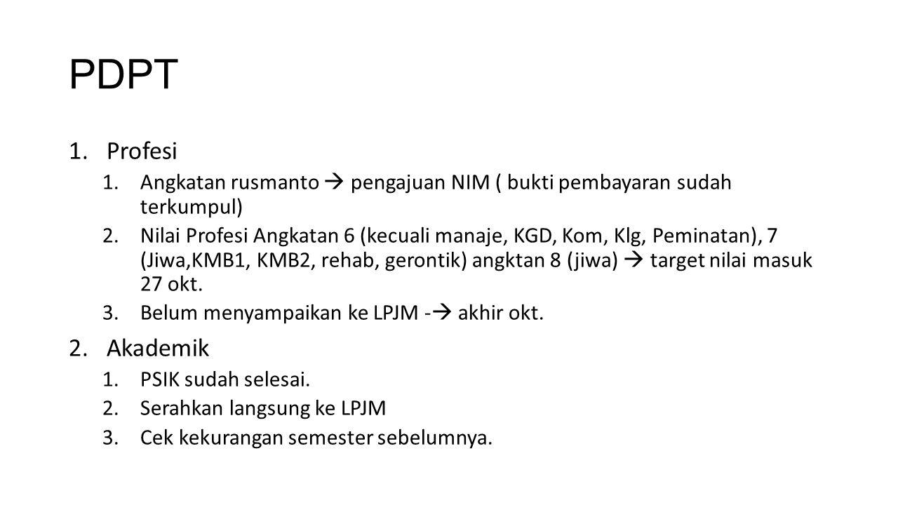PDPT 1.Profesi 1.Angkatan rusmanto  pengajuan NIM ( bukti pembayaran sudah terkumpul) 2.Nilai Profesi Angkatan 6 (kecuali manaje, KGD, Kom, Klg, Pemi