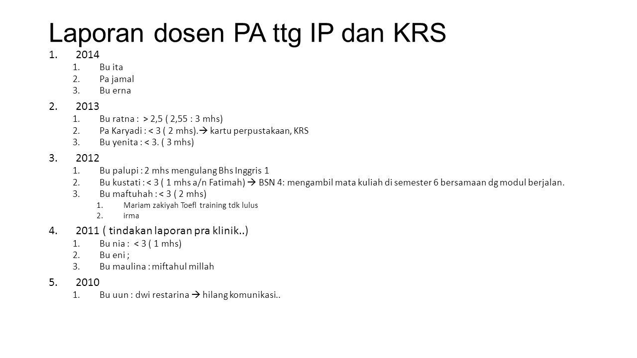 Laporan dosen PA ttg IP dan KRS 1.2014 1.Bu ita 2.Pa jamal 3.Bu erna 2.2013 1.Bu ratna : > 2,5 ( 2,55 : 3 mhs) 2.Pa Karyadi : < 3 ( 2 mhs).  kartu pe