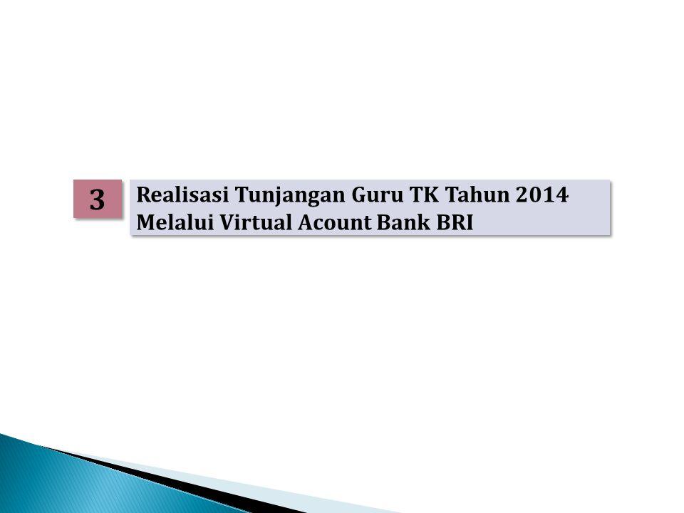 3 3 Realisasi Tunjangan Guru TK Tahun 2014 Melalui Virtual Acount Bank BRI Realisasi Tunjangan Guru TK Tahun 2014 Melalui Virtual Acount Bank BRI