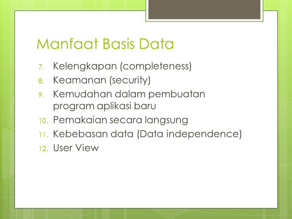 Manfaat Basis Data 7. Kelengkapan (completeness) 8. Keamanan (security) 9. Kemudahan dalam pembuatan program aplikasi baru 10. Pemakaian secara langsu