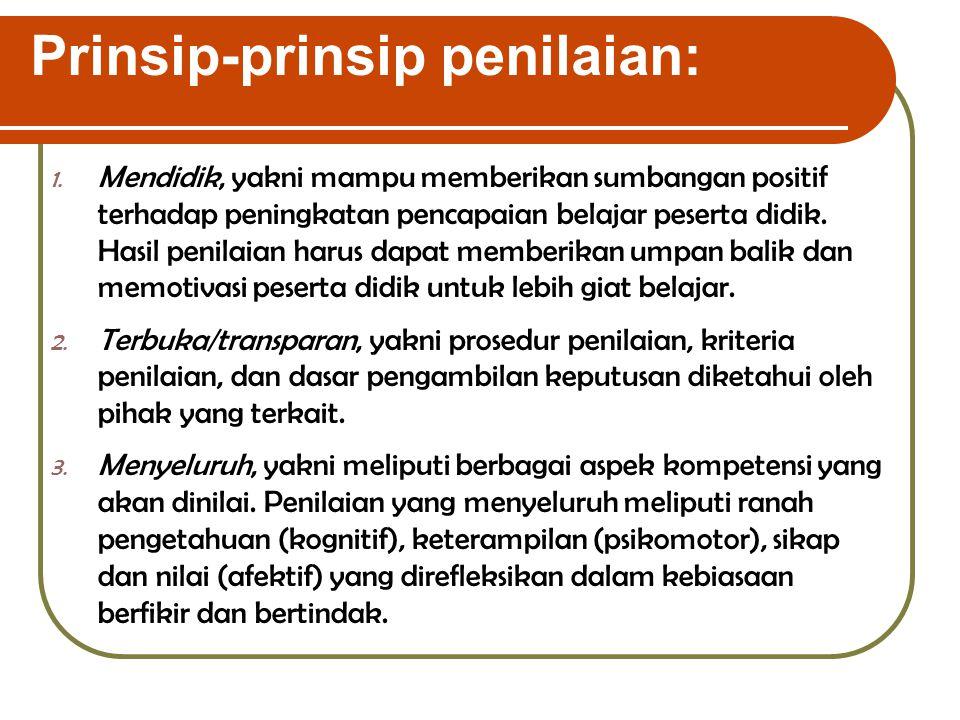 Prinsip-prinsip penilaian: 1.