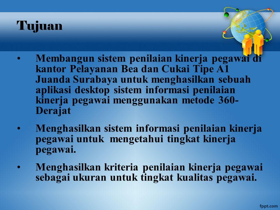 Tujuan Membangun sistem penilaian kinerja pegawai di kantor Pelayanan Bea dan Cukai Tipe A1 Juanda Surabaya untuk menghasilkan sebuah aplikasi desktop