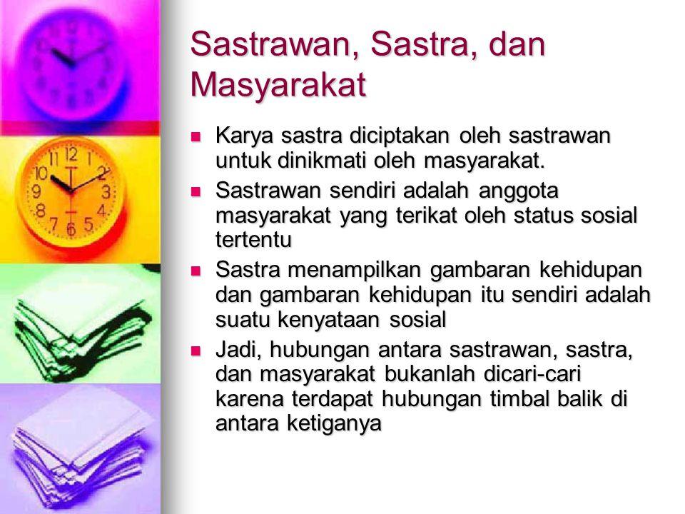 Sastrawan, Sastra, dan Masyarakat Karya sastra diciptakan oleh sastrawan untuk dinikmati oleh masyarakat.
