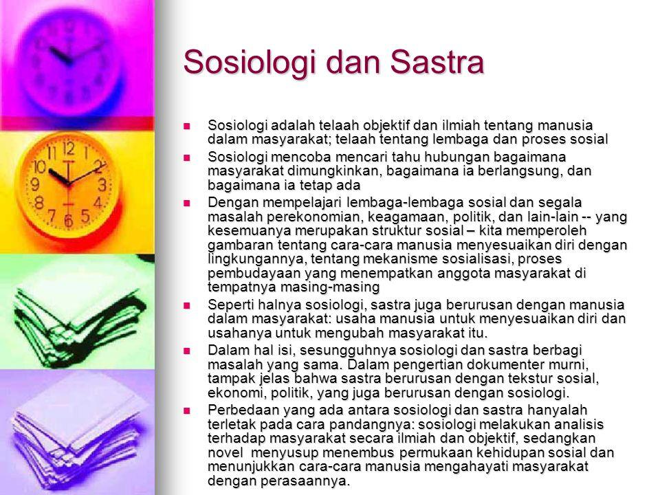 Sosiologi dan Sastra Sosiologi adalah telaah objektif dan ilmiah tentang manusia dalam masyarakat; telaah tentang lembaga dan proses sosial Sosiologi