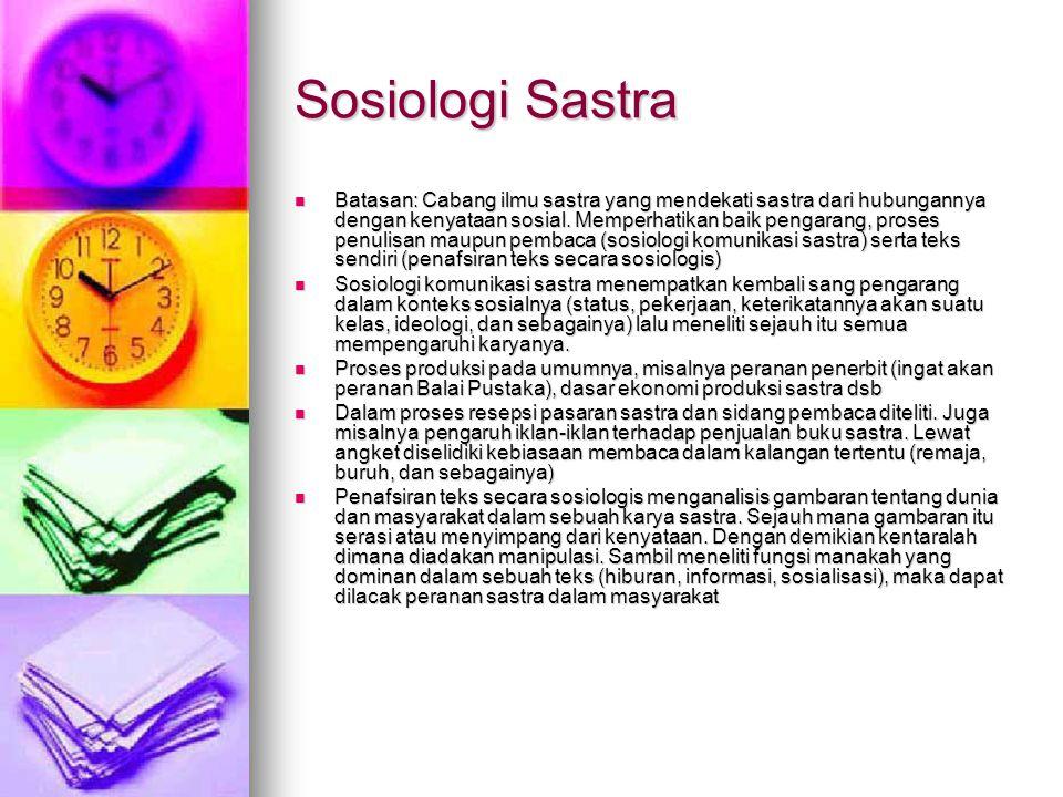 Sosiologi Sastra Batasan: Cabang ilmu sastra yang mendekati sastra dari hubungannya dengan kenyataan sosial. Memperhatikan baik pengarang, proses penu