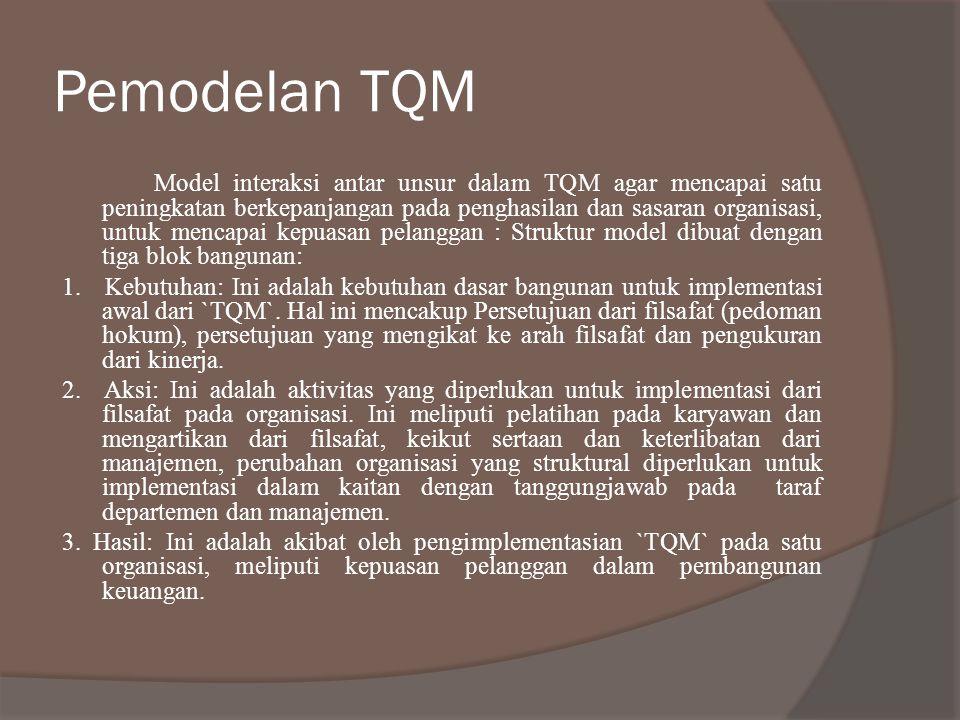 Pemodelan TQM Model interaksi antar unsur dalam TQM agar mencapai satu peningkatan berkepanjangan pada penghasilan dan sasaran organisasi, untuk menca