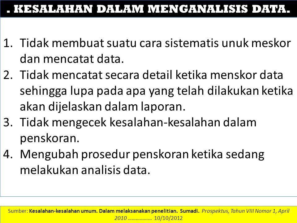 DATA DAN INFORMASI. KESALAHAN DALAM MENGANALISIS DATA. 1.Tidak membuat suatu cara sistematis unuk meskor dan mencatat data. 2.Tidak mencatat secara de