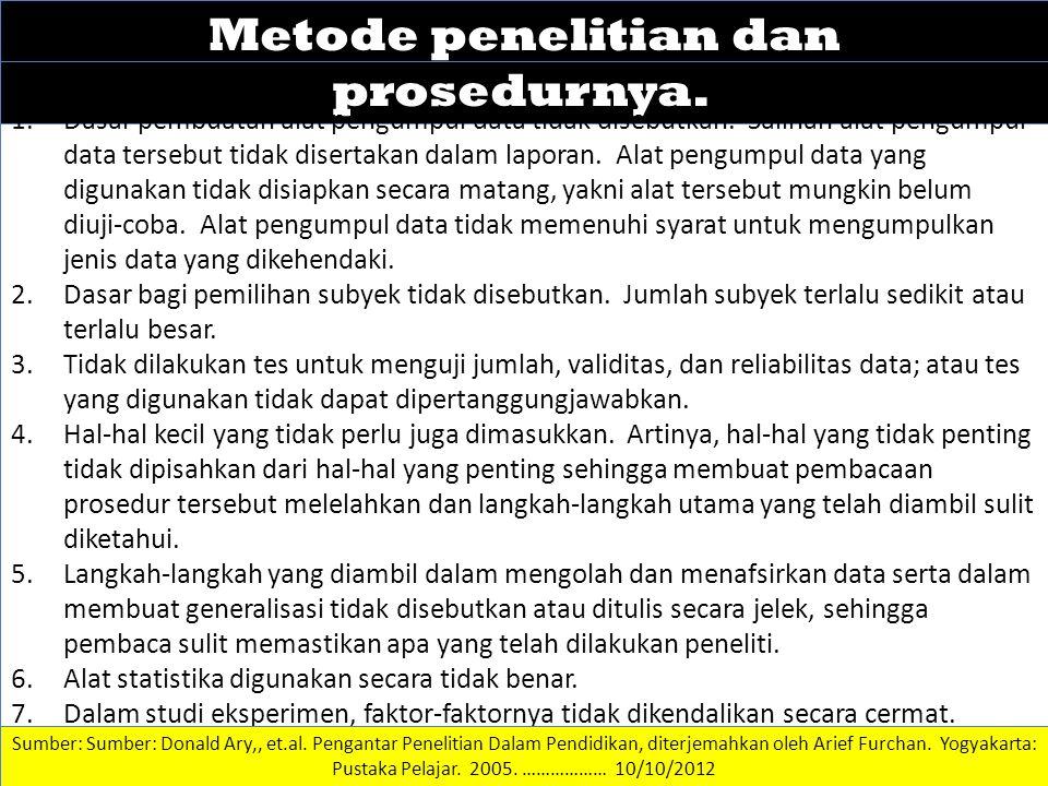 DATA DAN INFORMASI Metode penelitian dan prosedurnya.