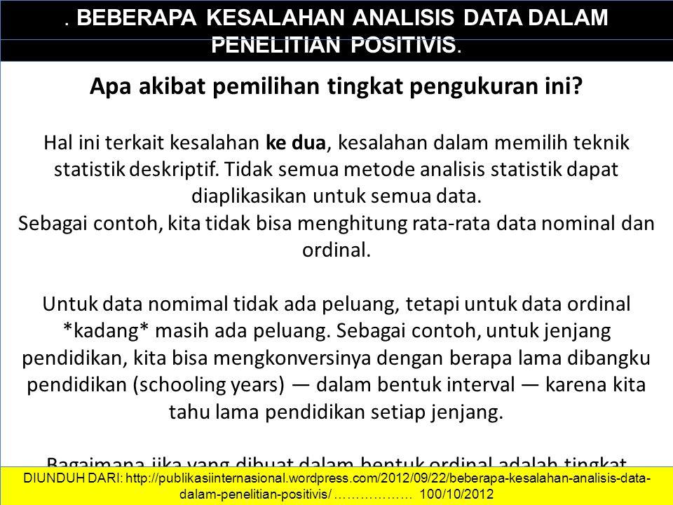 DATA DAN INFORMASI. BEBERAPA KESALAHAN ANALISIS DATA DALAM PENELITIAN POSITIVIS. Apa akibat pemilihan tingkat pengukuran ini? Hal ini terkait kesalaha