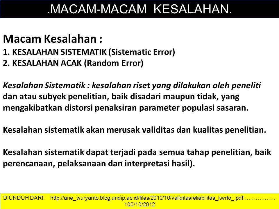 DATA DAN INFORMASI.MACAM-MACAM KESALAHAN. Macam Kesalahan : 1. KESALAHAN SISTEMATIK (Sistematic Error) 2. KESALAHAN ACAK (Random Error) Kesalahan Sist