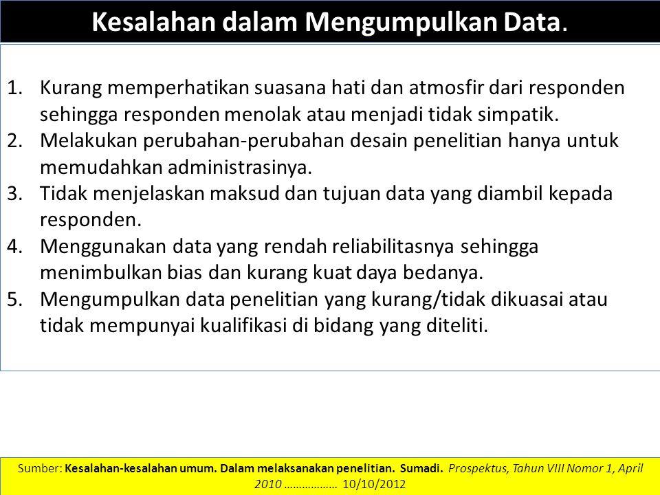 DATA DAN INFORMASI Kesalahan dalam Mengumpulkan Data. 1.Kurang memperhatikan suasana hati dan atmosfir dari responden sehingga responden menolak atau