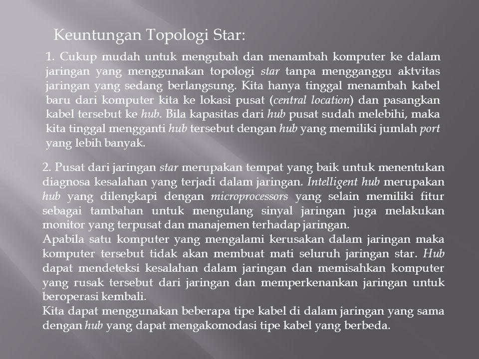 Keuntungan Topologi Star: 1. Cukup mudah untuk mengubah dan menambah komputer ke dalam jaringan yang menggunakan topologi star tanpa mengganggu aktvit