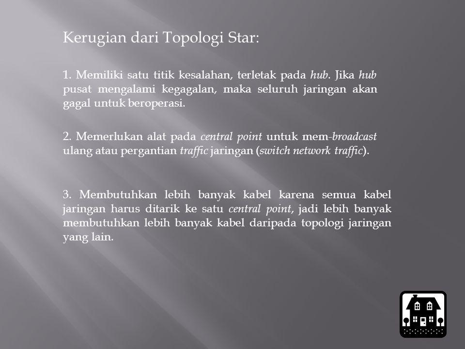 Kerugian dari Topologi Star: 1. Memiliki satu titik kesalahan, terletak pada hub. Jika hub pusat mengalami kegagalan, maka seluruh jaringan akan gagal