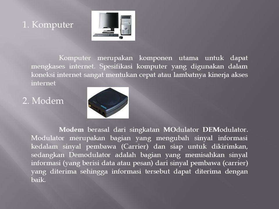 1. Komputer Komputer merupakan komponen utama untuk dapat mengkases internet. Spesifikasi komputer yang digunakan dalam koneksi internet sangat mentuk