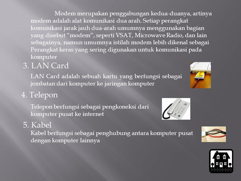 3. LAN Card LAN Card adalah sebuah kartu yang berfungsi sebagai jembatan dari komputer ke jaringan komputer 4. Telepon Modem merupakan penggabungan ke