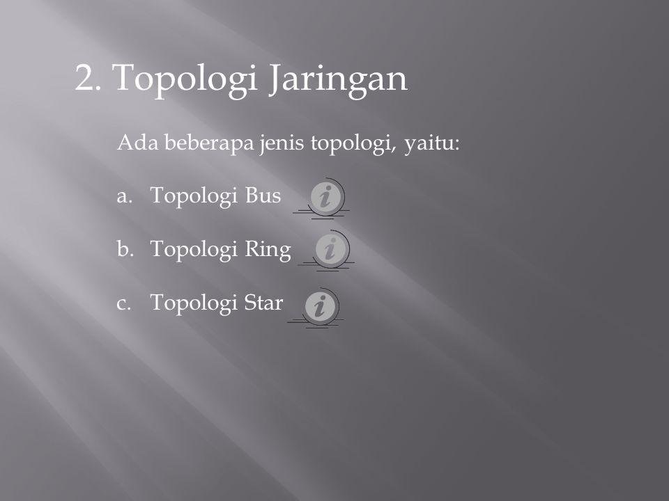 2. Topologi Jaringan Ada beberapa jenis topologi, yaitu: a.Topologi Bus b.Topologi Ring c.Topologi Star