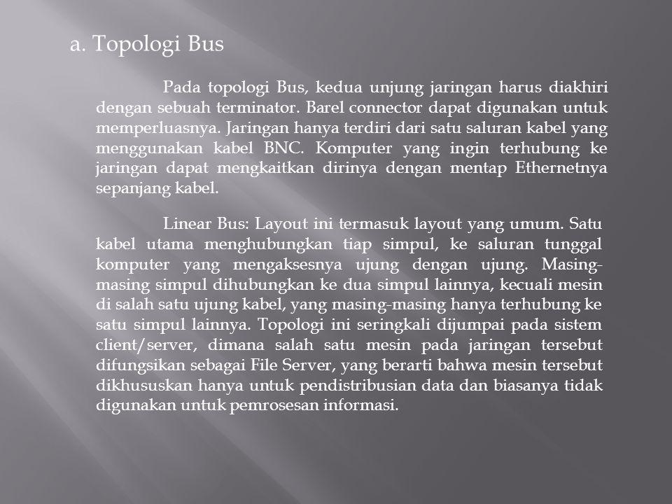 a. Topologi Bus Pada topologi Bus, kedua unjung jaringan harus diakhiri dengan sebuah terminator.