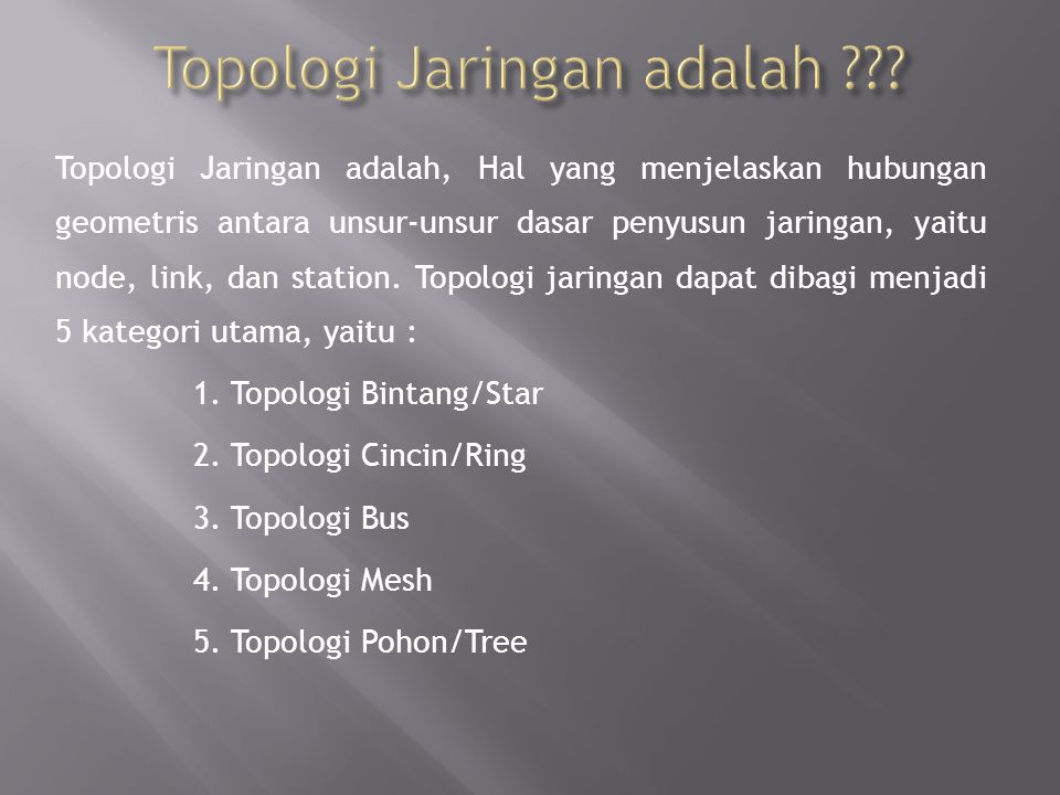 Topologi bintang merupakan bentuk topologi jaringan yang berupa konvergensi dari node tengah ke setiap node atau pengguna.