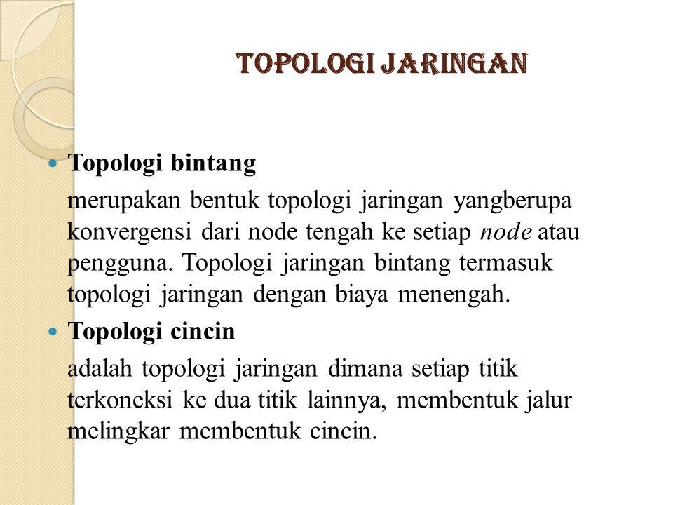 Topologi Jaringan Topologi bintang merupakan bentuk topologi jaringan yangberupa konvergensi dari node tengah ke setiap node atau pengguna. Topologi j