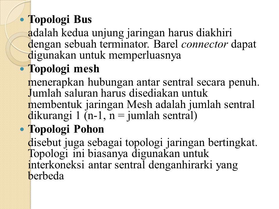 Topologi Bus adalah kedua unjung jaringan harus diakhiri dengan sebuah terminator. Barel connector dapat digunakan untuk memperluasnya Topologi mesh m
