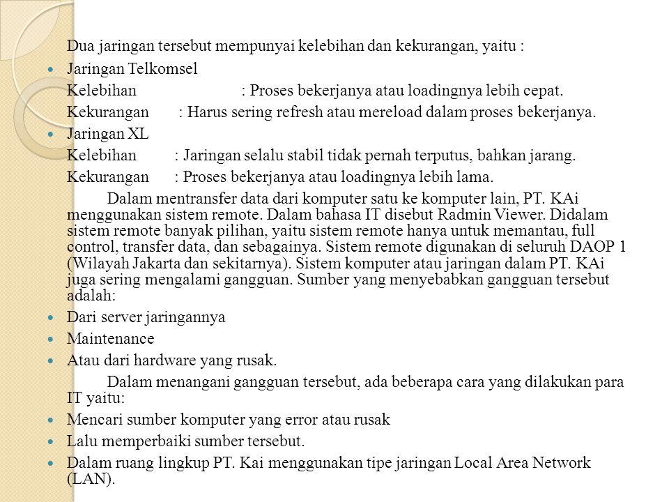 Dua jaringan tersebut mempunyai kelebihan dan kekurangan, yaitu : Jaringan Telkomsel Kelebihan : Proses bekerjanya atau loadingnya lebih cepat. Kekura