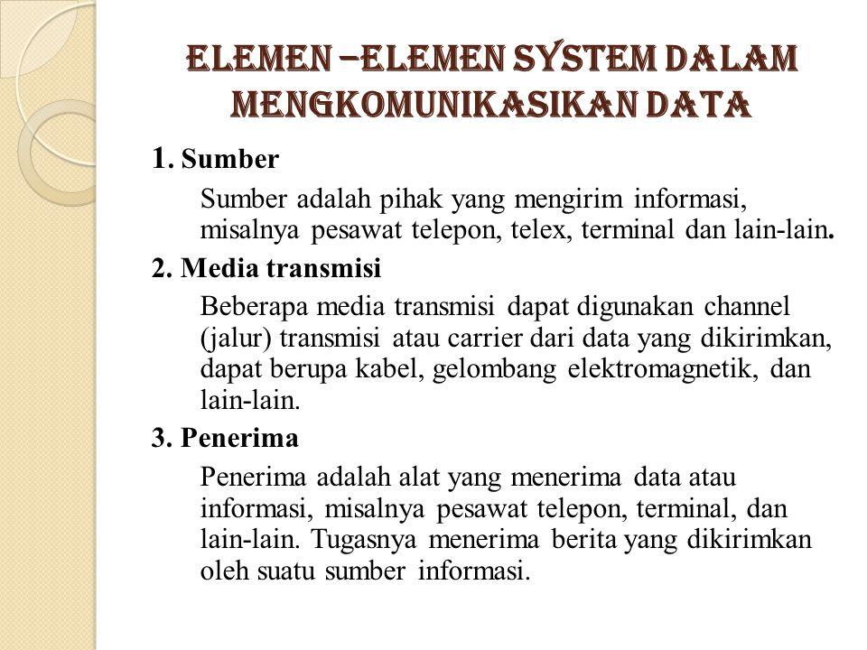 Elemen –elemen System Dalam Mengkomunikasikan Data 1. Sumber Sumber adalah pihak yang mengirim informasi, misalnya pesawat telepon, telex, terminal da