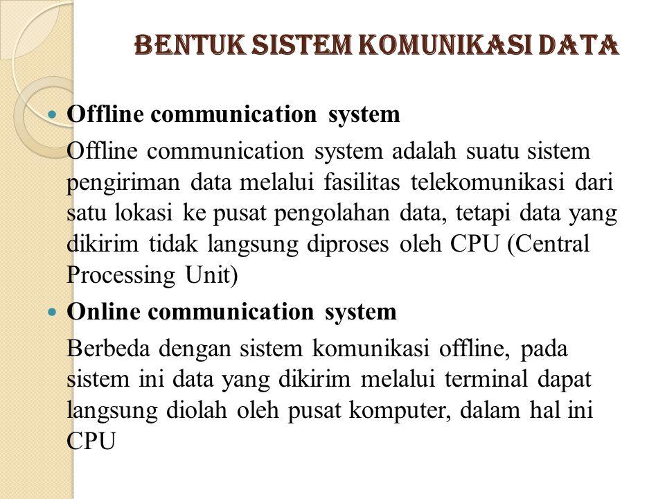 Bentuk Sistem Komunikasi Data Offline communication system Offline communication system adalah suatu sistem pengiriman data melalui fasilitas telekomu
