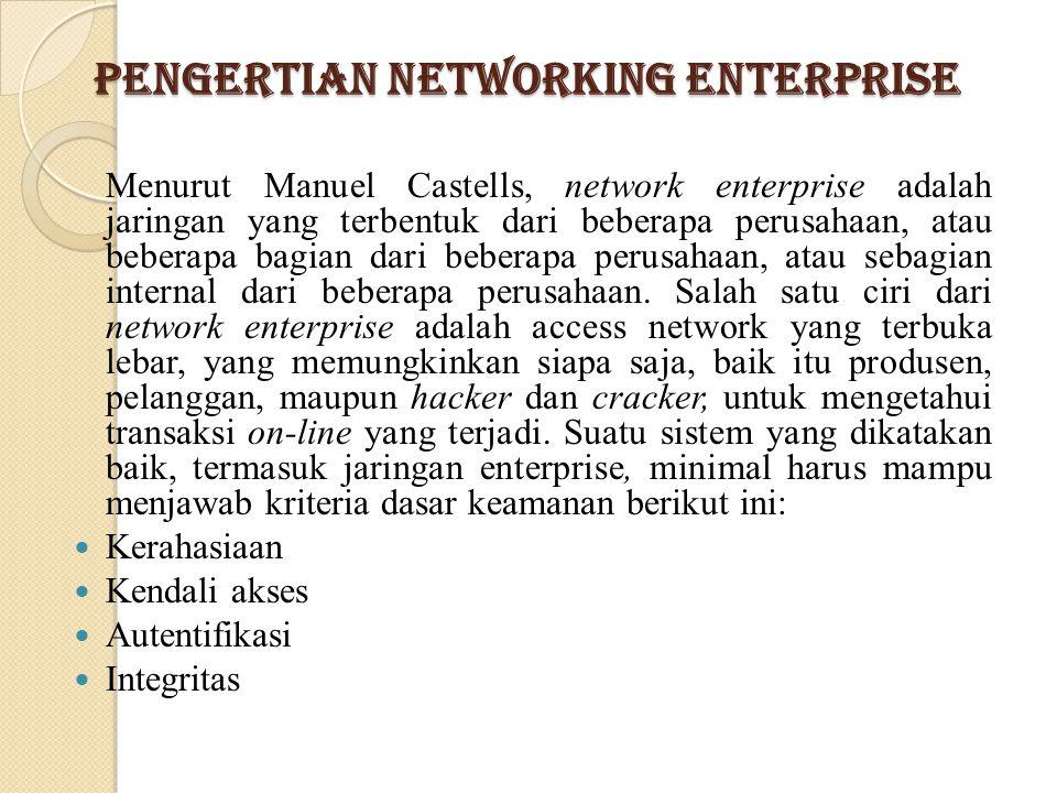 Pengertian Networking Enterprise Menurut Manuel Castells, network enterprise adalah jaringan yang terbentuk dari beberapa perusahaan, atau beberapa ba