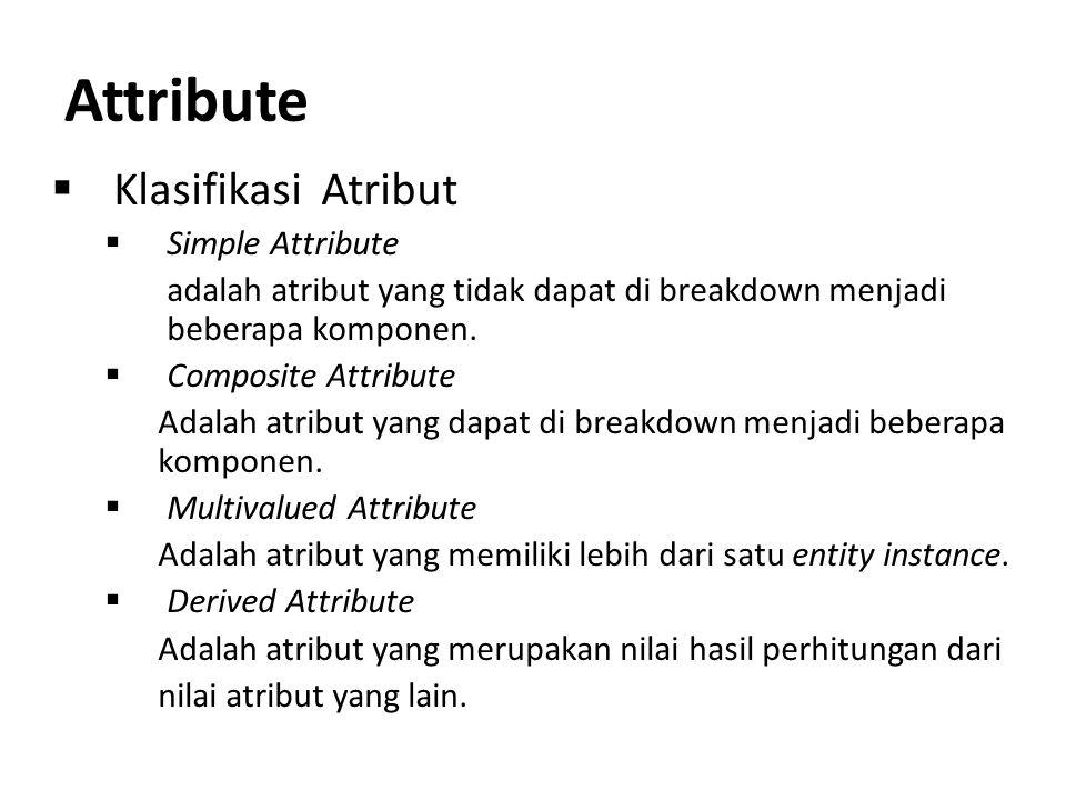 Attribute  Klasifikasi Atribut  Simple Attribute adalah atribut yang tidak dapat di breakdown menjadi beberapa komponen.  Composite Attribute Adala