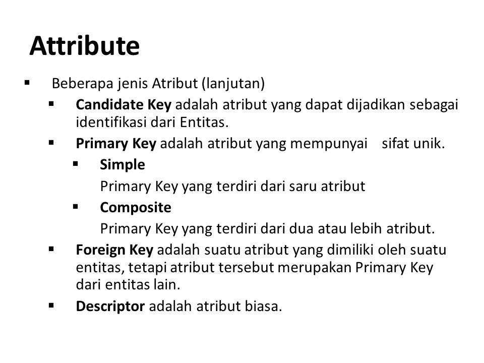 Attribute  Beberapa jenis Atribut (lanjutan)  Candidate Key adalah atribut yang dapat dijadikan sebagai identifikasi dari Entitas.  Primary Key ada