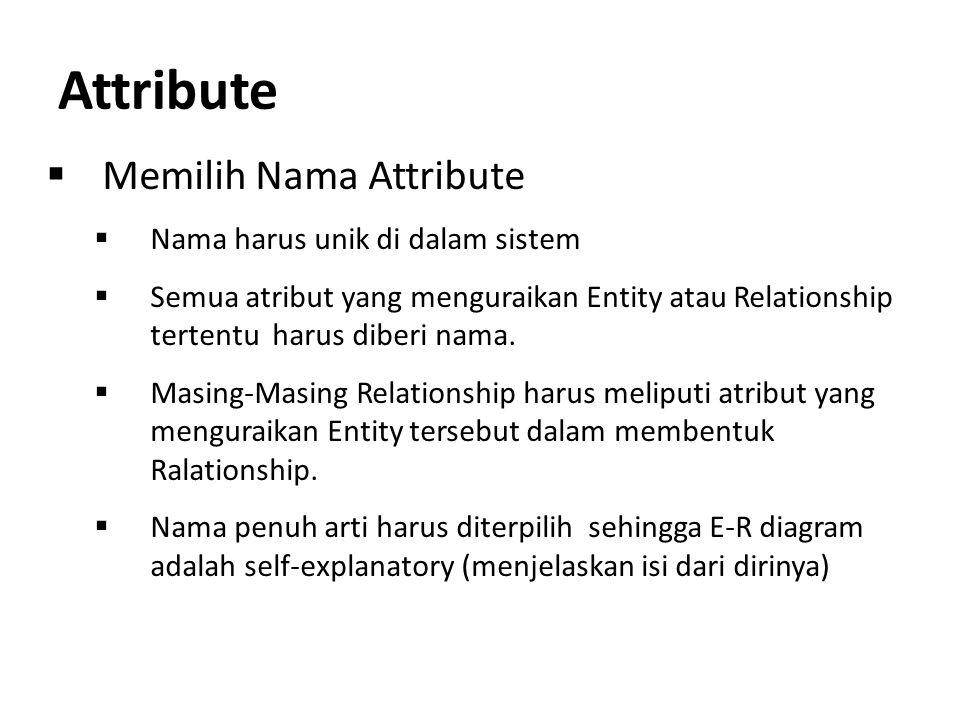Attribute  Memilih Nama Attribute  Nama harus unik di dalam sistem  Semua atribut yang menguraikan Entity atau Relationship tertentu harus diberi n