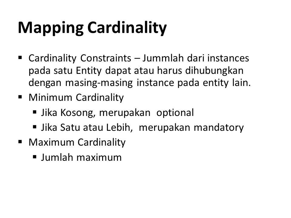 Mapping Cardinality  Cardinality Constraints – Jummlah dari instances pada satu Entity dapat atau harus dihubungkan dengan masing-masing instance pad