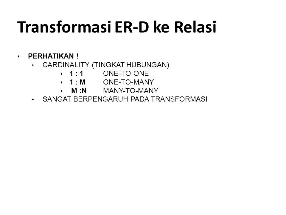 Transformasi ER-D ke Relasi s PERHATIKAN ! s CARDINALITY (TINGKAT HUBUNGAN) s 1 : 1ONE-TO-ONE s 1 : MONE-TO-MANY s M :N MANY-TO-MANY s SANGAT BERPENGA