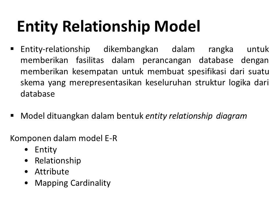 Entity Relationship Model  Entity-relationship dikembangkan dalam rangka untuk memberikan fasilitas dalam perancangan database dengan memberikan kese