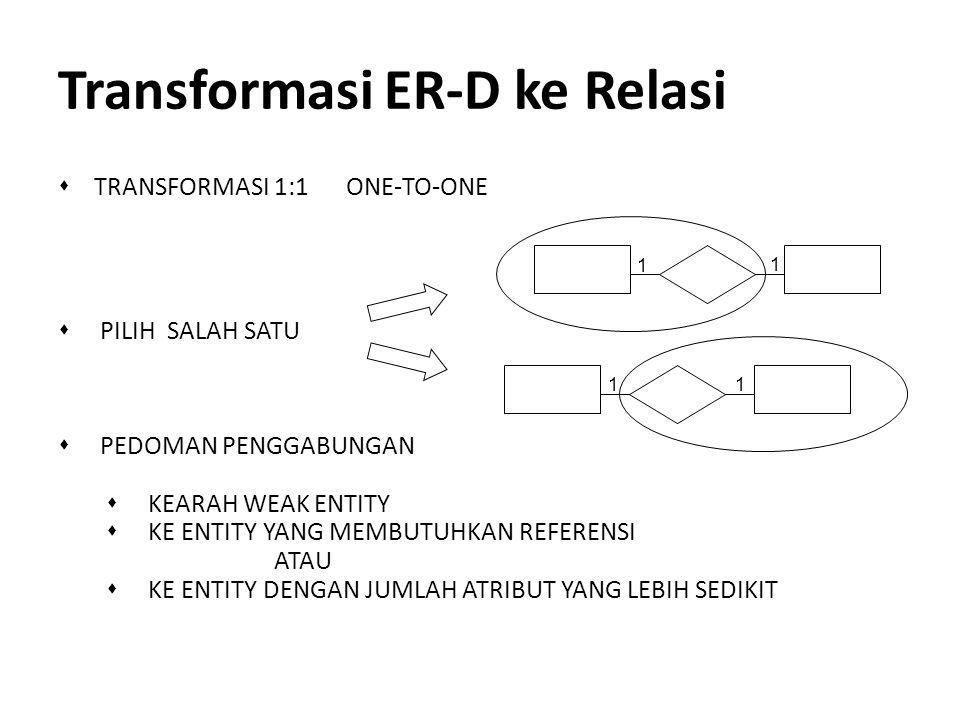 Transformasi ER-D ke Relasi s TRANSFORMASI 1:1 ONE-TO-ONE s PILIH SALAH SATU s PEDOMAN PENGGABUNGAN s KEARAH WEAK ENTITY s KE ENTITY YANG MEMBUTUHKAN
