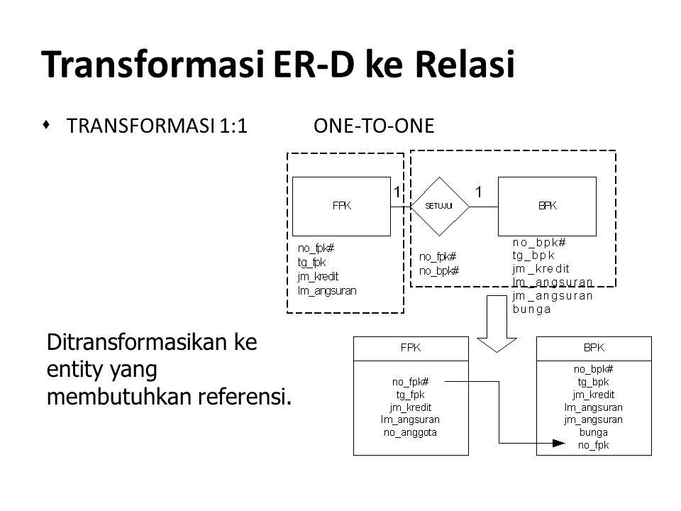 Transformasi ER-D ke Relasi s TRANSFORMASI 1:1 ONE-TO-ONE Ditransformasikan ke entity yang membutuhkan referensi.