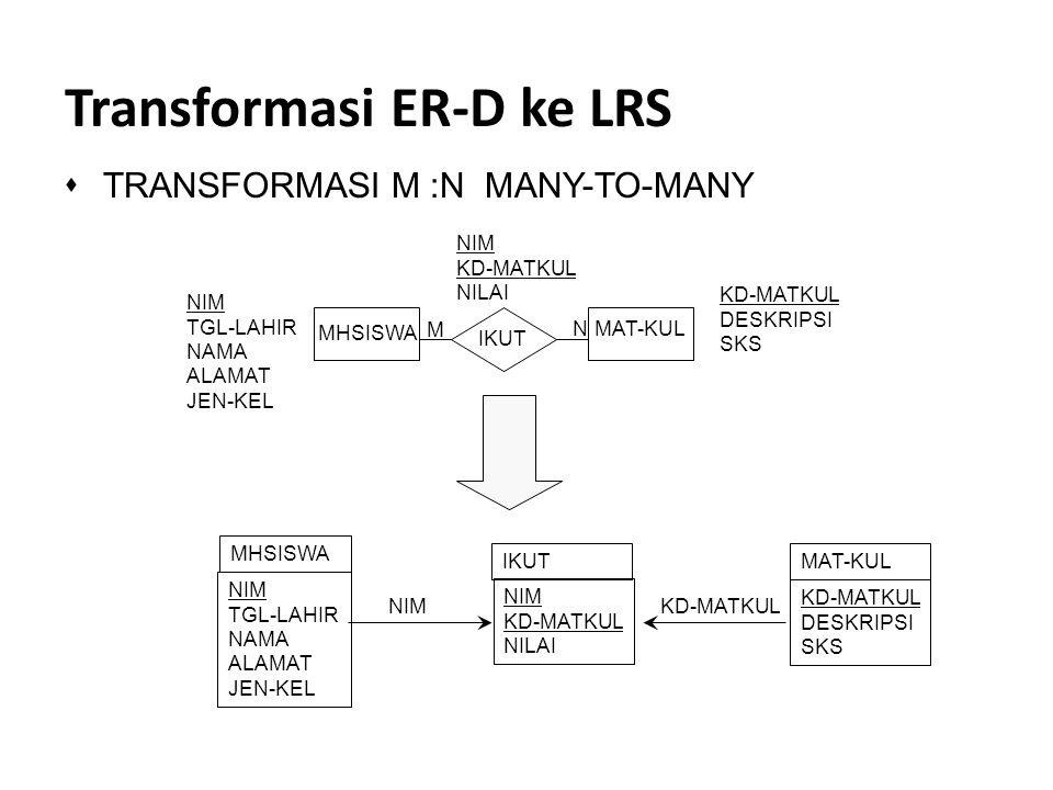 Transformasi ER-D ke LRS sTRANSFORMASI M :N MANY-TO-MANY KD-MATKUL DESKRIPSI SKS NIM TGL-LAHIR NAMA ALAMAT JEN-KEL M N MHSISWA MAT-KUL IKUT NIM KD-MAT